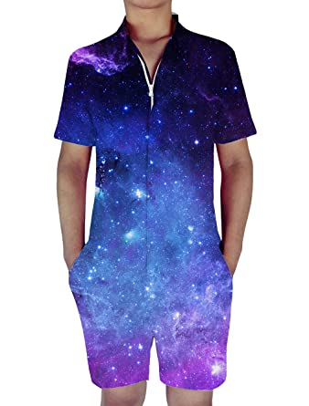 0695c81406e8 RAISEVERN Mens Blue Galaxy Space Print Zip Up Jumpsuit Short Cargo Pants  Rompers Slim Fit Party