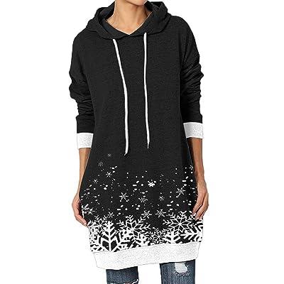 Women Hoodie Dress Casual Plain Longline Hooded Jumper Pullover Sweatshirt Dress
