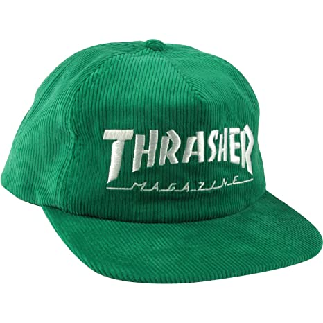 806b3ef30ca Image Unavailable. Image not available for. Color  Thrasher Magazine Mag  Logo Green Cord Snapback Hat ...