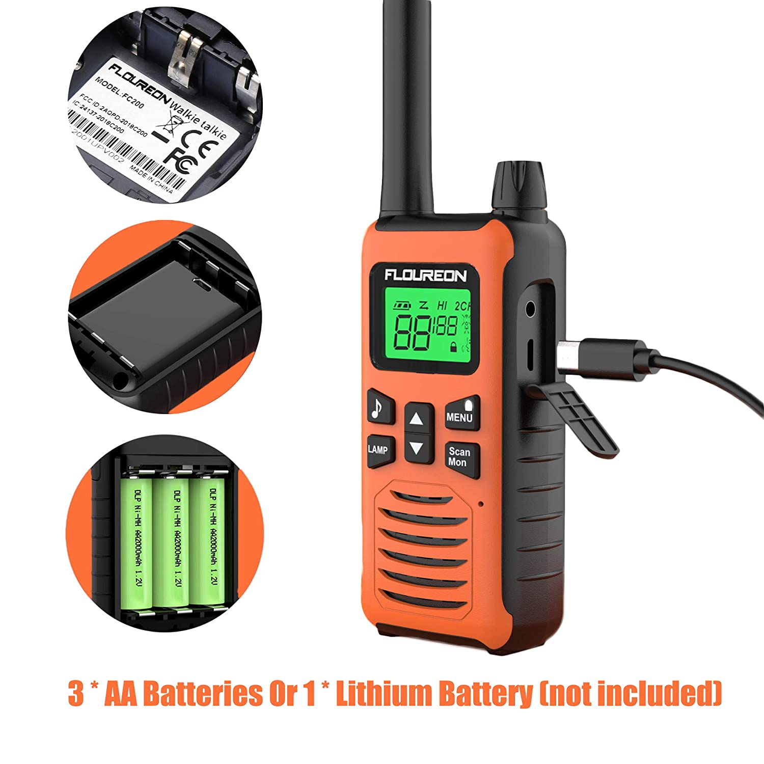 FLOUREON 16 CH Twin Walkie Talkies Interphone 2 Way Radio Rechargable with LCD Display Up to up to 5KM for Field Survival Biking Hiking Orange