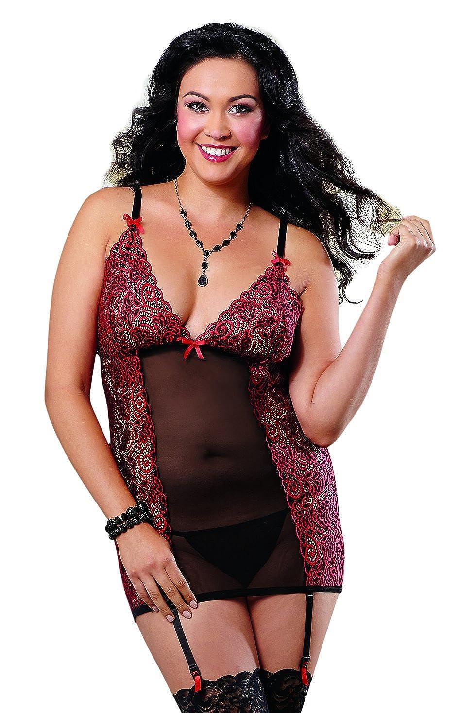 4596909a2 Amazon.com  Dreamgirl Women s Plus-Size Sexy Beautiful Cross-Dye Lace and  Mesh Garter Slip  Clothing
