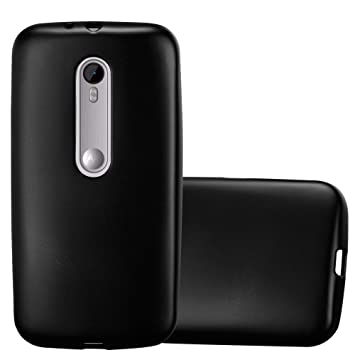 Cadorabo Funda para Motorola Moto G3 en Metallic Negro – Cubierta Proteccíon de Silicona TPU Delgada e Flexible con Antichoque – Gel Case Cover ...