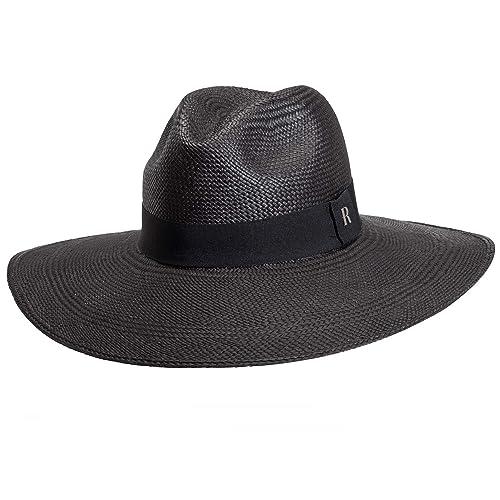 RACEU ATELIER Sombrero Panamá Ala Ancha Eva Negro - Sombrero de Paja Estilo  Fedora - Sombreros 1164d2494f7