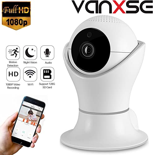 Vanxse CCTV 2.0MP 1080P IR Night Vision WiFi Wireless Pan Tilt Network IP Camera Webcam Remote View for Home Security and Surveillance DLS002