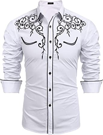 COOFANDY Mens Long Sleeve Shirt Embroidery Slim Fit Casual Button Down Shirt