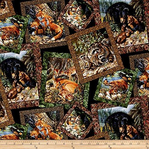 Elizabeth's Studio Woodland Families Postcard Black Fabric by The Yard,