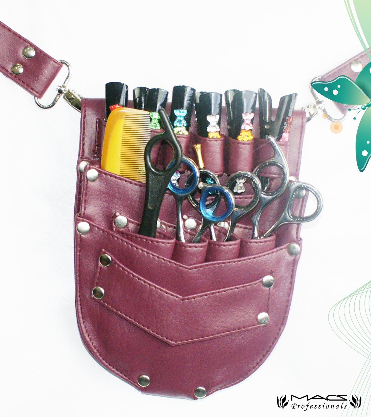 Macs Professional Hair Dressers Scissors Holder Holster /Pouch For Multi, Personal And Professional Use -174 Artificial Hair On leather