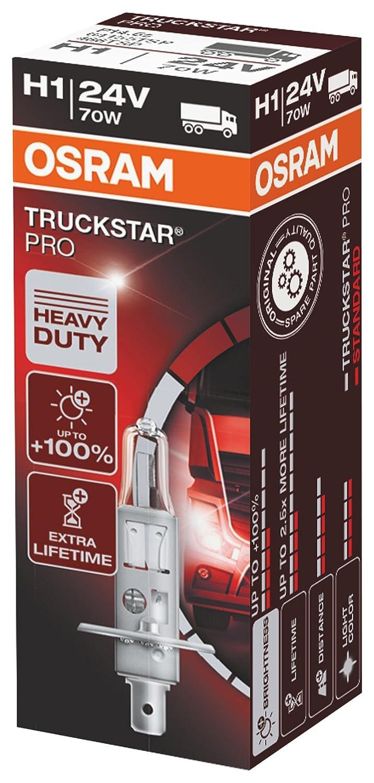 OSRAM TRUCKSTAR PRO H7 Lampada alogena per proiettori 64215TSP-HCB +100% , resistenza alle vibrazioni Confezione Duobox