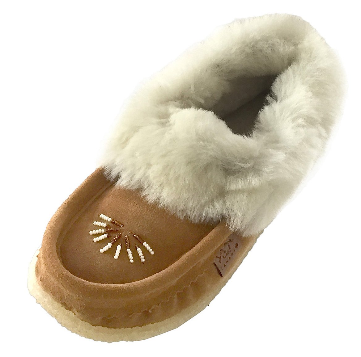 Laurentian Chief Women's Sheepskin Lined Suede Moccasins Slippers with Crepe Sole (10)