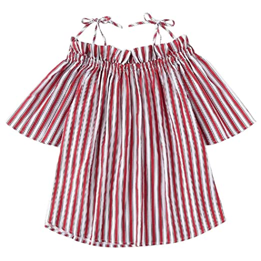Hatoys Womens Summer Off Shoulder Stripe Short Sleeve Vest Tank Tops Blouse  T-Shirt (