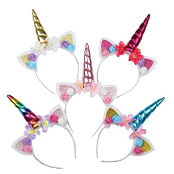 Einhorn Horn Schleife Stirnband Haarreif Kopfschmuck Blumen Mädchen
