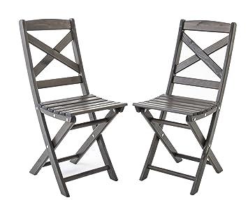 ambientehome lot de 2 chaises pliables lotta gris taupe 36 x 52 x 87 cm 90044 - Chaises Pliables