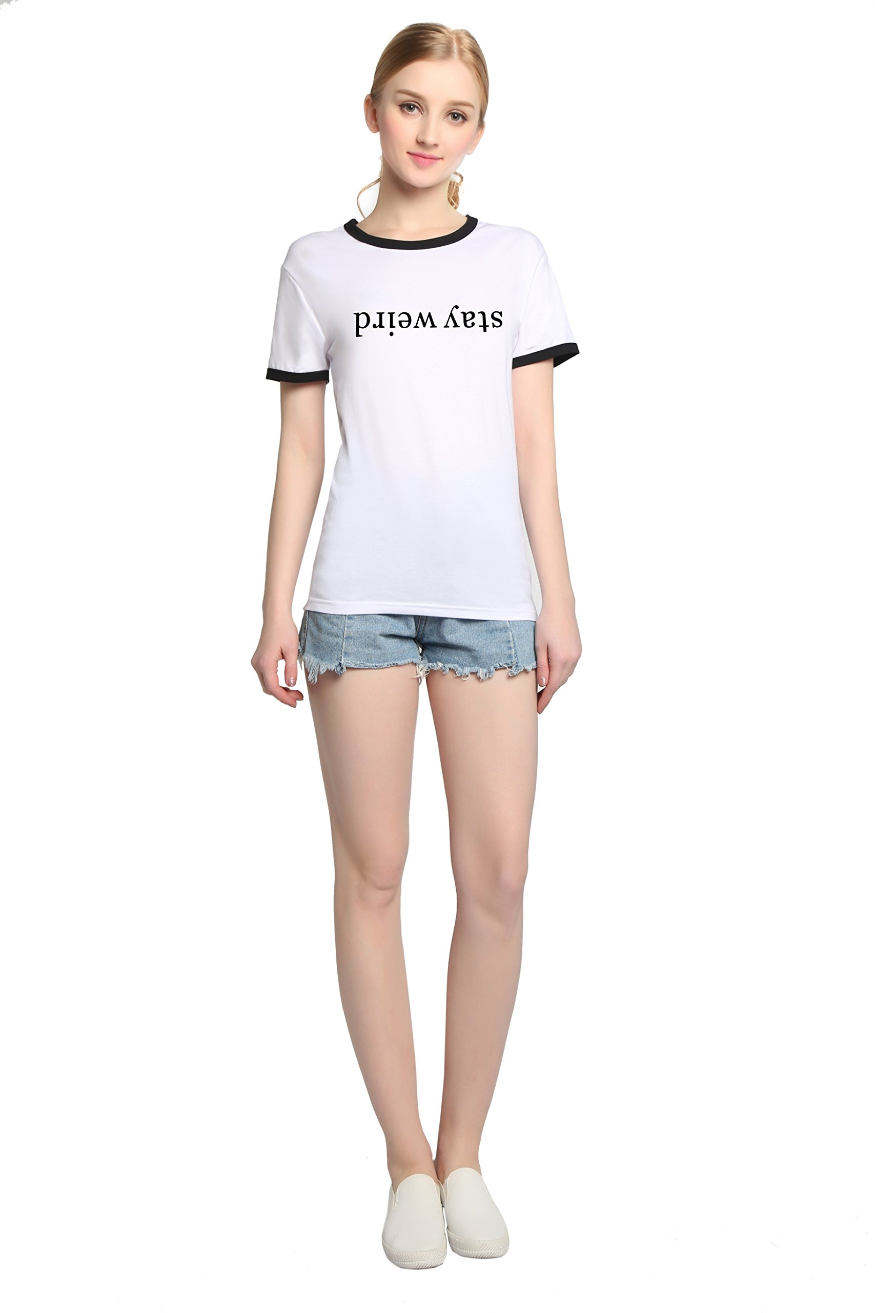 PINJIA Womens Cotton Letter Printed Pullover Tshirts Top Tees(MX15)(XXXL, White Stay Weird)