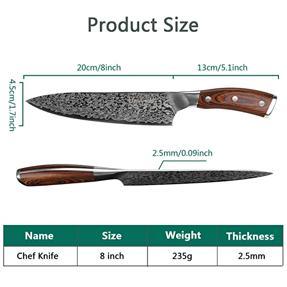 Amazon.com: Cuchillo de cocina profesional de 7.9 in ...