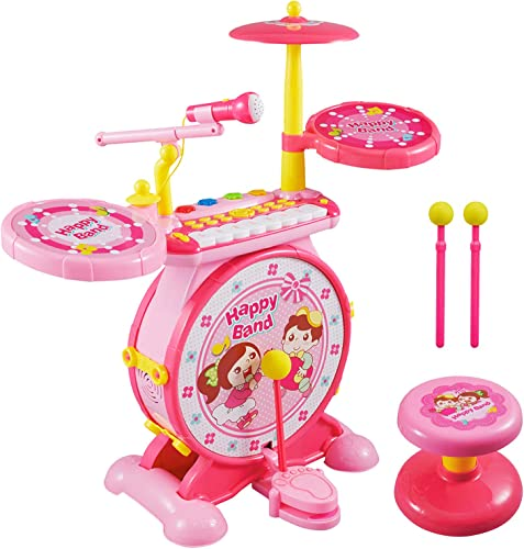 Reditmo Toy Drum Set for Kids, with Mini Piano Keyboard, Microphone, Drum Sticks, Solid Stool, Cultivating Musical Talent, for 18M+ 2-6 Years Old Baby,...