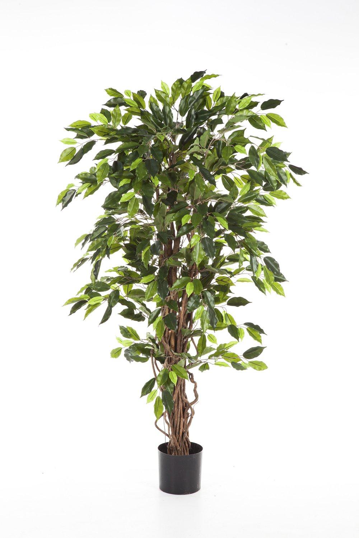 Ficus artificiale JARLAN con 430 foglie e tronco intrecciato, verde, 120 cm - Ficus decorativo / Pianta di ficus - artplants
