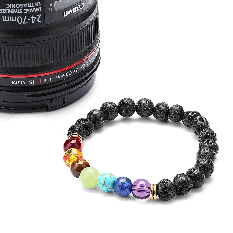 Energy Stone Beads Bracelet,Lava Rock Stone Unisex Bracelets 7 Multicolors Gemstone Chakra Healing Bead Bangle Gift for Women Gifts