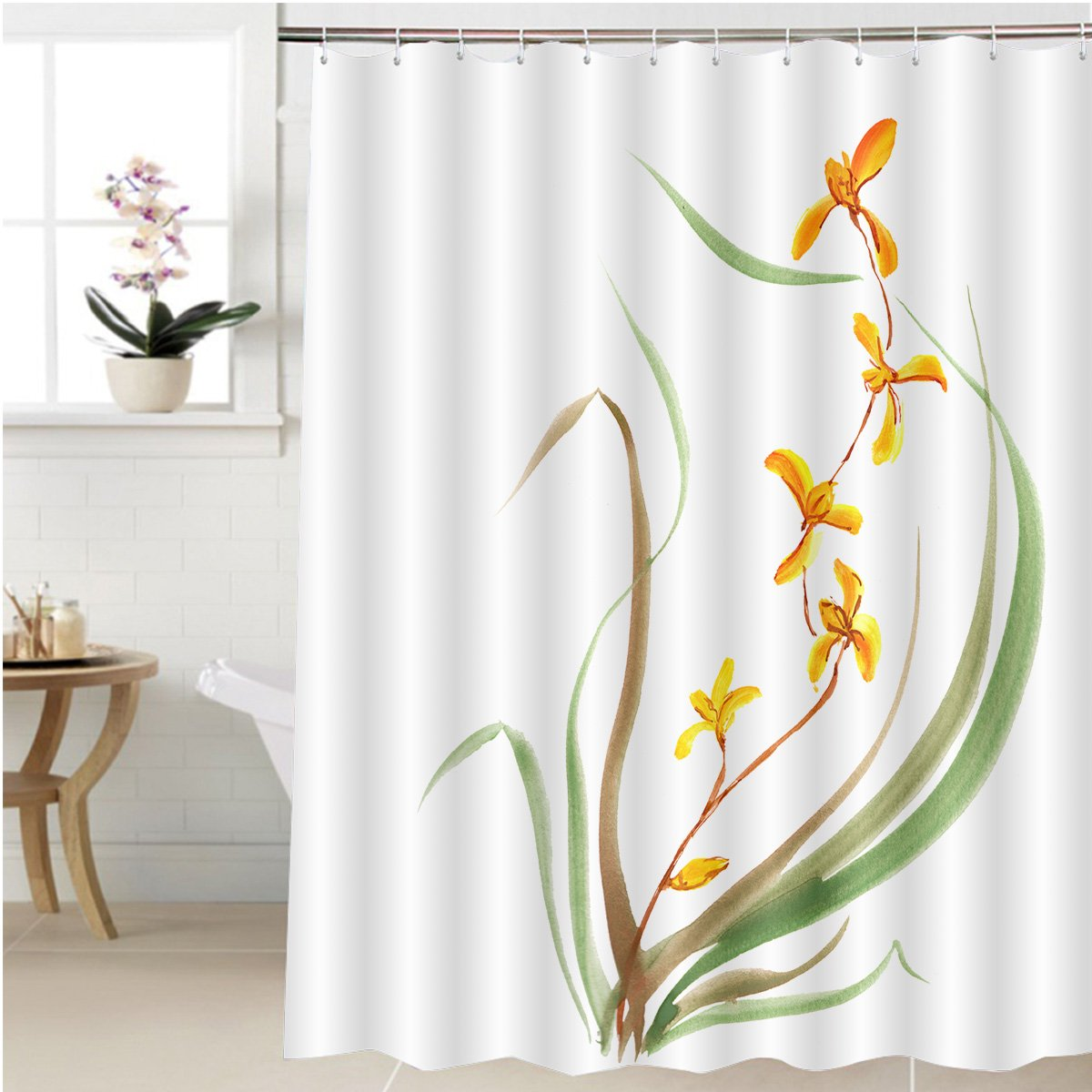 Amazon.com: Gzhihine Shower curtain orchid painted in gouache ...