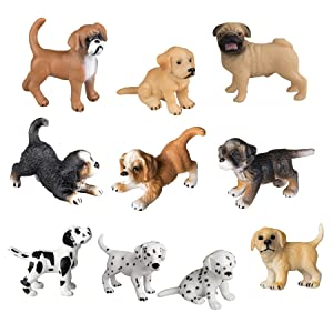 TOYMANY 10PCS Puppy Figurines, Realistic Detailed Cute Puppy Figures, Hand Painted Emulational Dog Figurines Toy Set Christmas Birthday Gift for Kids Toddlers