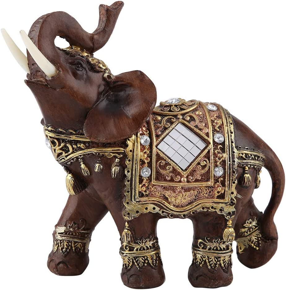 Hilitand Lucky Wealth Elephant Statue Sculpture Feng Shui Wood Grain Figurine Home Desktop Decoration Gift(L)
