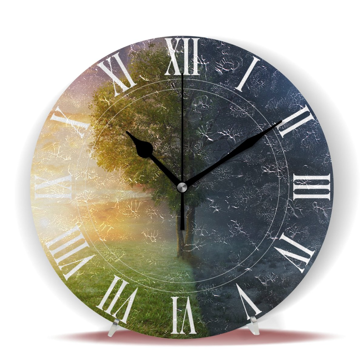 WellLee Night Day Landscape Life Tree Clock Acrylic Painted Silent Non-Ticking Round Wall Clock Home Art Bedroom Living Dorm Room Decoration by WellLee (Image #2)