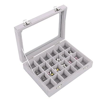 af67e0cdd Amazon.com: Ivosmart 24 Section Velvet Glass Jewelry Ring Display Organiser  Box Tray Holder Earrings Storage Case (Grey): Home & Kitchen