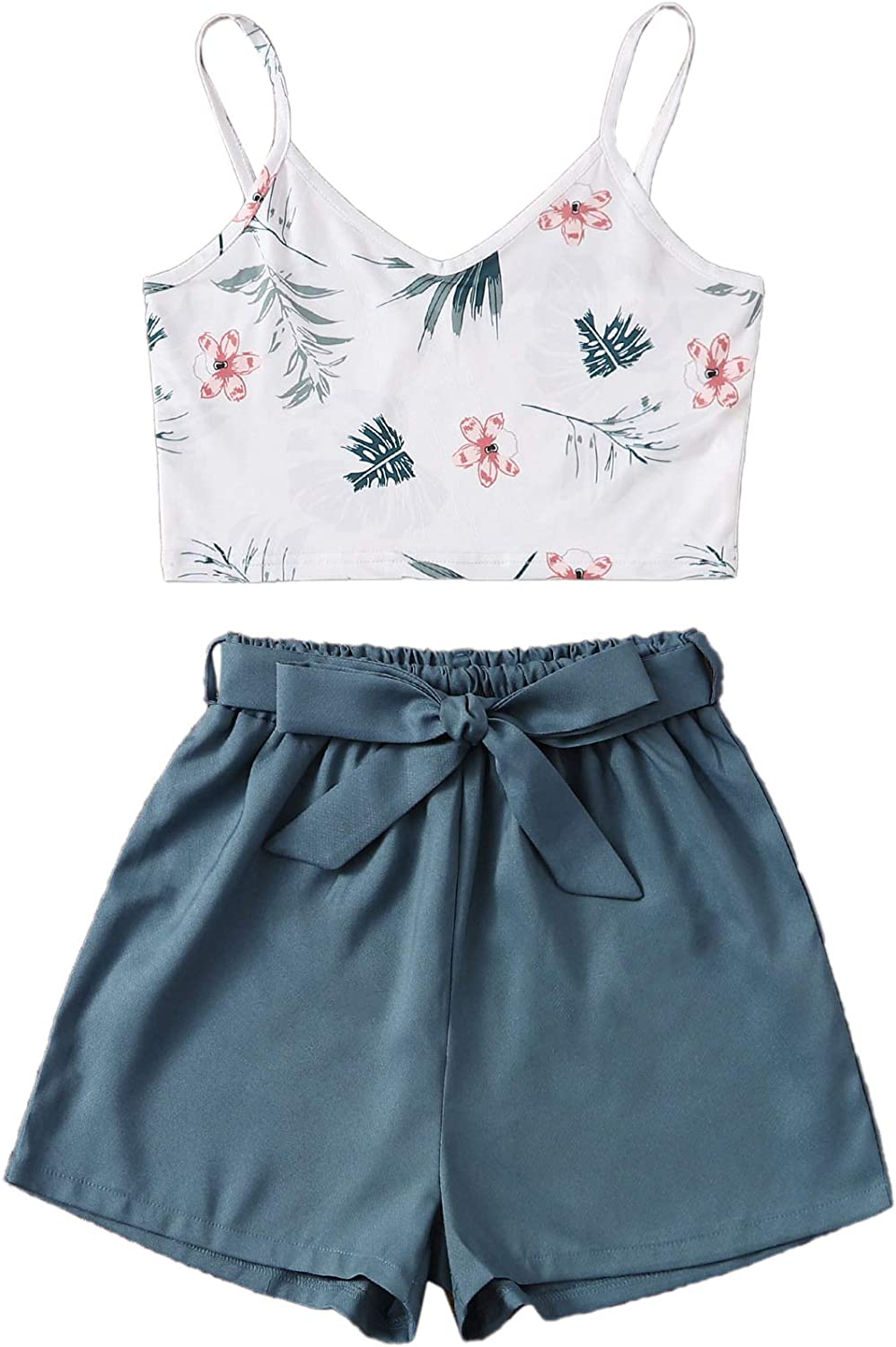 SweatyRocks Women's Two Piece Outfits Boho Floral Print Spaghetti Strap Cami Crop Top with Shorts Set