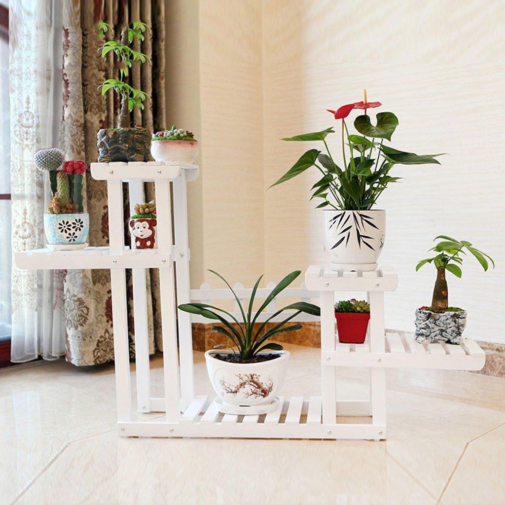 JBP max Fiore Stand Soggiorno Fiore in Legno massello Stand Soggiorno Balcone Bonsai carbonizzato Giardino Bianco Angolo Fiore Stand-JBP4