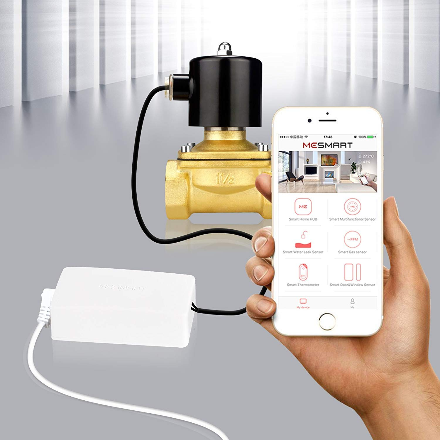 BOXMART Wi-Fi Smart Controller + 1/2'' Electric Solenoid Valve 12V DC for Water Gas Air Open Closed, Smart Phone Control, Home Hub is NOT Required
