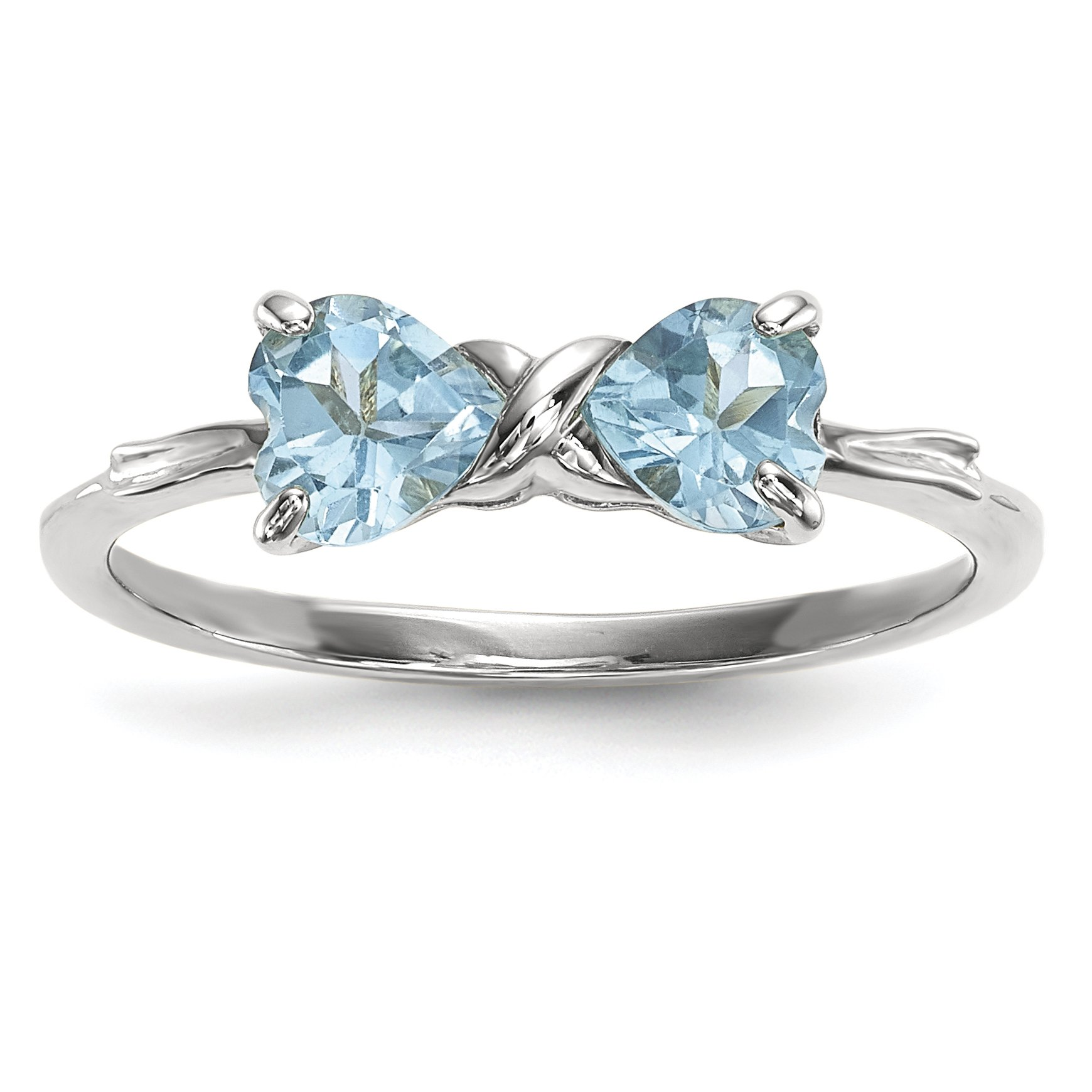 ICE CARATS 14k White Gold Swiss Blue Topaz Bow Band Ring Size 7.00 Birthstone December Set Style Fine Jewelry Gift For Women Heart