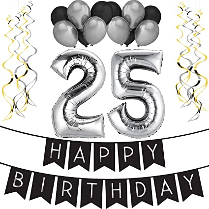 Amazon 25th Birthday Party Pack Black Silver Happy