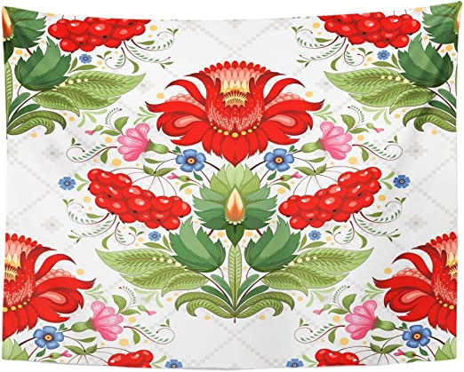 Tapestry Beautiful Floral Ukrainian Flower in The Style of petrykivka Painting and Similar to Cross Home Decor Wall Hanging for Living Room Bedroom Dormisette 50 x 60 Inches: Amazon.es: Juguetes y juegos