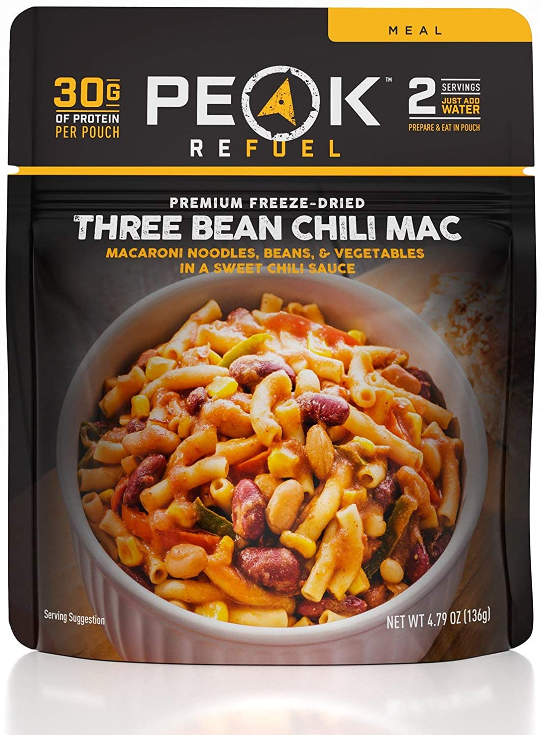 Peak Refuel Three Bean Chili Mac | Vegan | Freeze Dried Backpacking and Camping Food | Amazing Taste | High Protein | Quick Prep | Lightweight