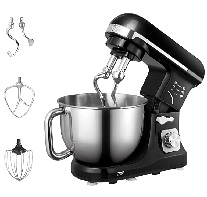 Aicok Stand Mixer, 500W 6-Speed 5-Quart Stainless Steel Bowl, Tilt-Head Food Mixer Kitchen Electric Mixer with Double Dough Hooks, Whisk, Beater, Pouring Shield, Black