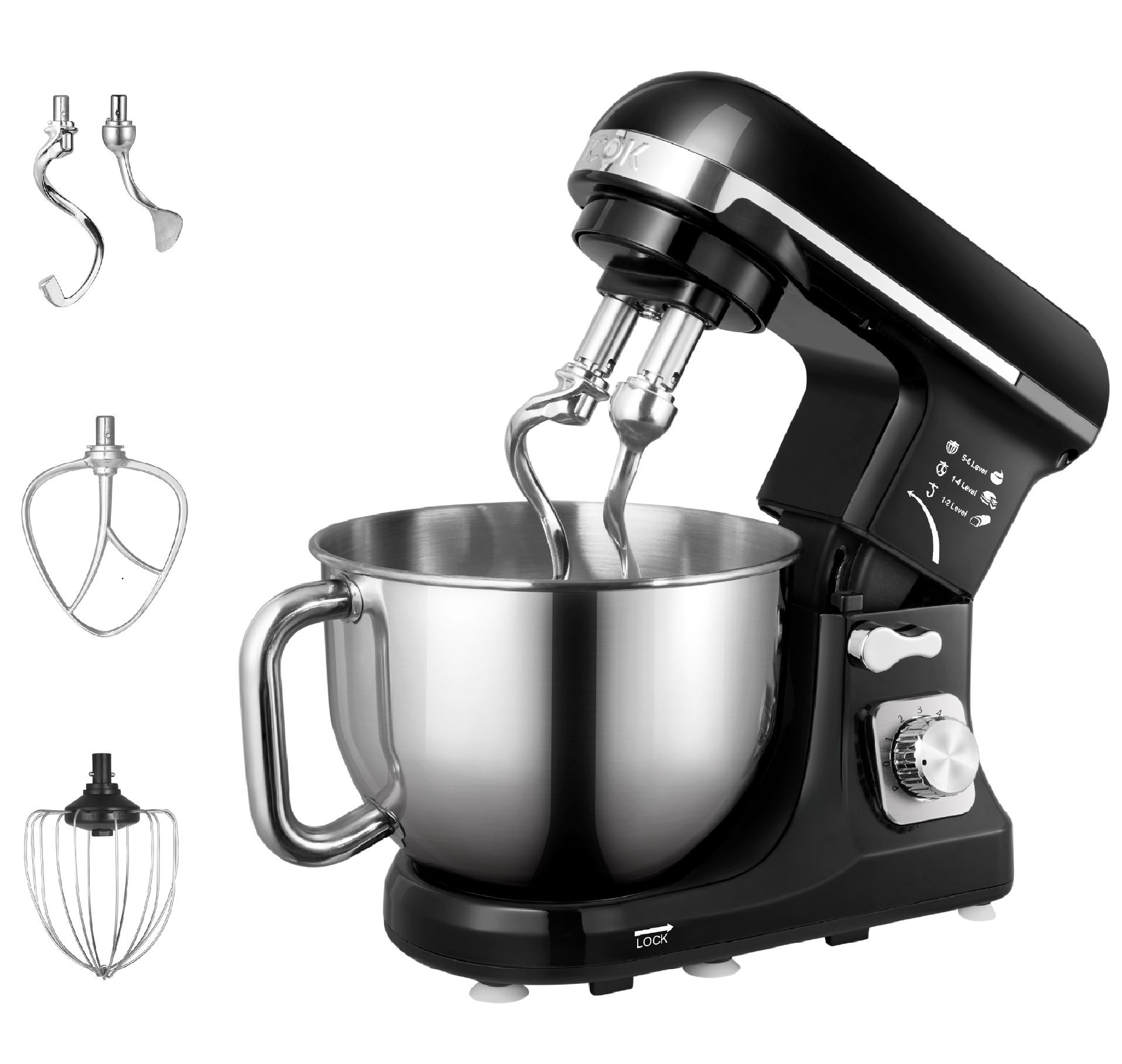 aicok stand mixer food mixer kitchen electric mixer with double dough hook whisk beater splash guard 6 speed 5 quart stainless steel bowl black - Kitchen Mixer
