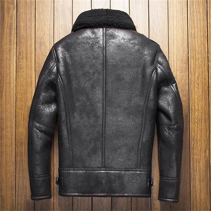 e470b4411d8f Denny Dora B3 Shearling Leather Jacket Mens Shearling Coat Crack Texture  Sheepskin Aviator Jacket at Amazon Men s Clothing store