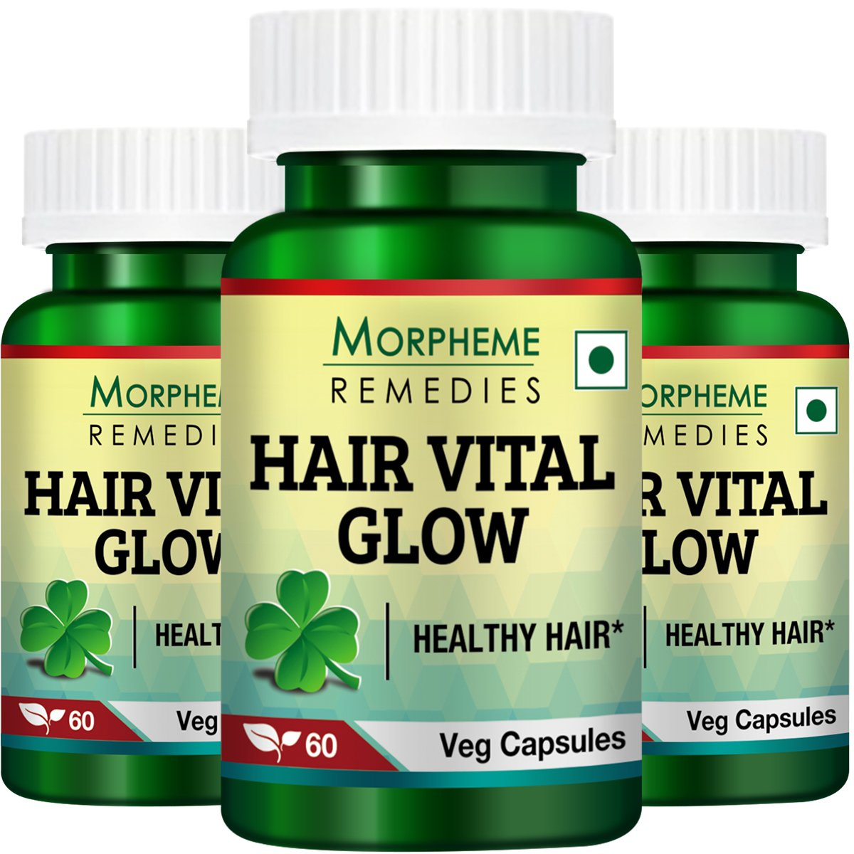 Morpheme Hair Vital Glow 60 Veg Caps - For Hair Health - 3 Bottles