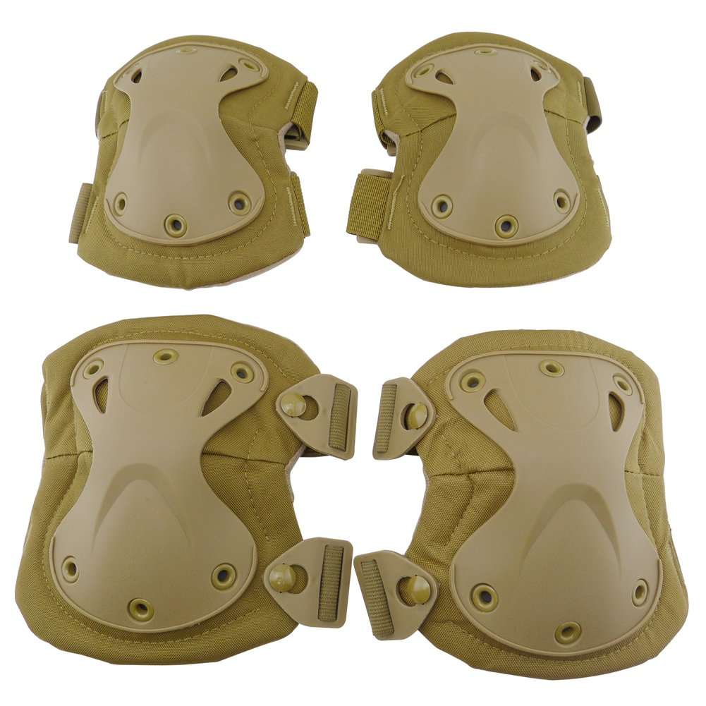 QIAOMENG Professional Military Tactical Knee Pads and Elbow Pads Protective Guard Set Equipment for CS Hunting Paintball Airsoft Safety Pack of 4 (Tan)