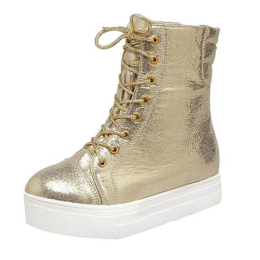 1629cbbec9e0d5 Damen keilabsatz Stiefeletten Schnüren Plateau Wedges Ankle Boots mit Fell  Bequeme Warm Schuhe UH Günstiger Preis
