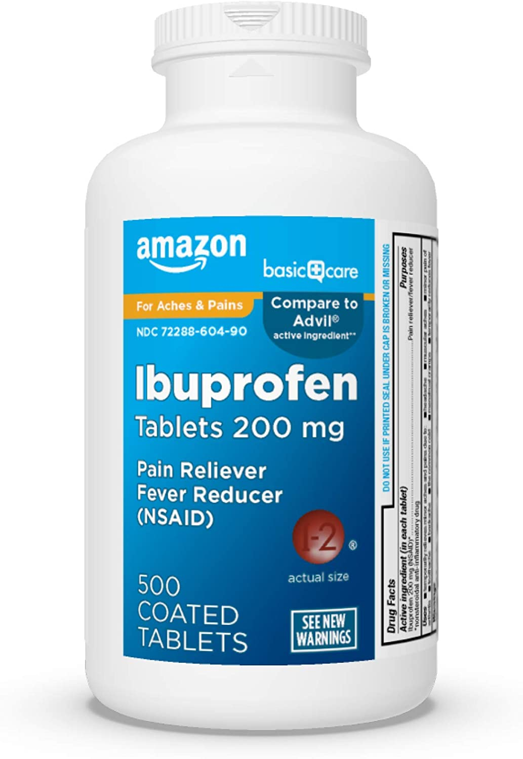 Basic Care Ibuprofen Tablets 200 mg, Pain Reliever/Fever Reducer (NSAID), 500 Count: Health & Personal Care