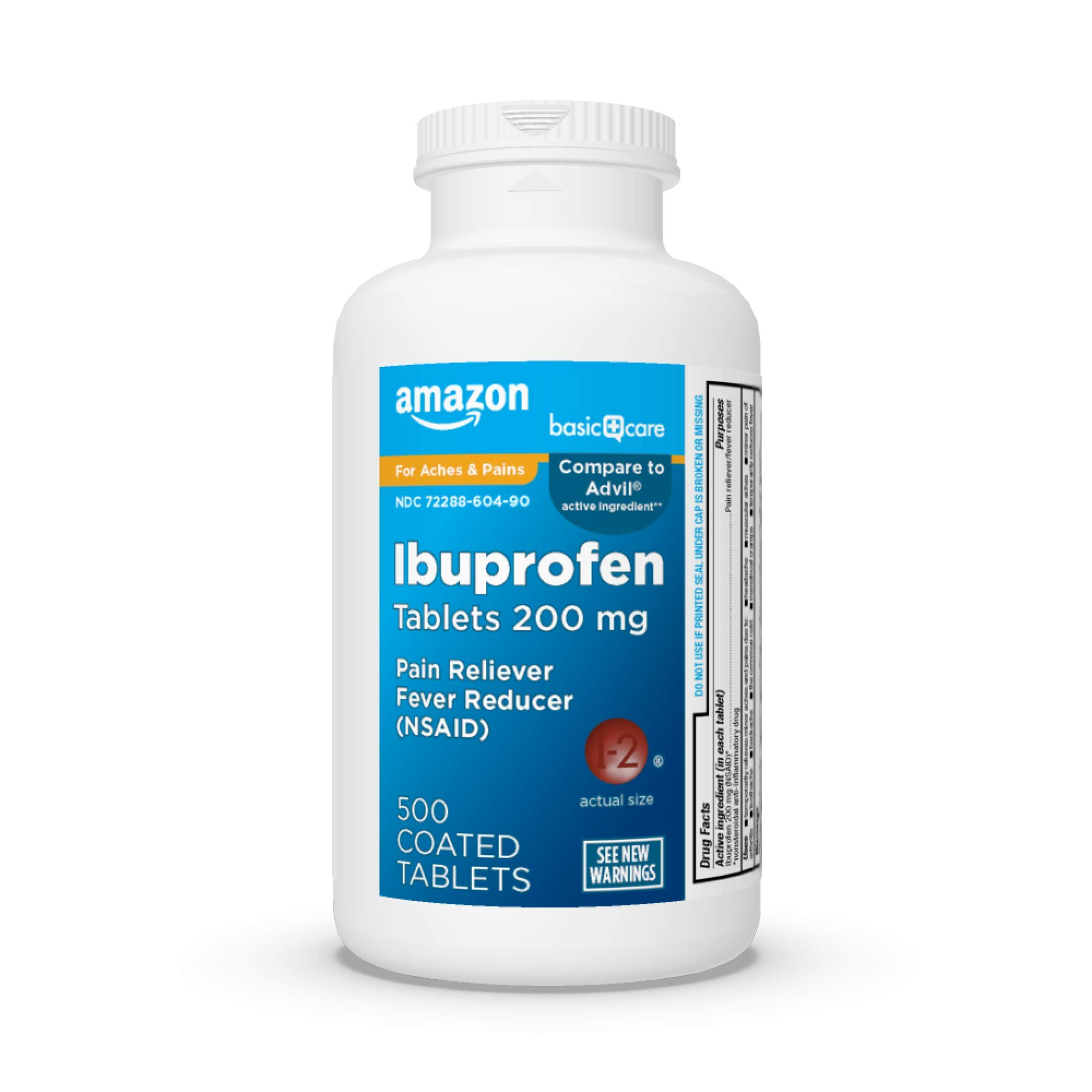 Amazon Basic Care Ibuprofen Tablets 200 mg, Pain Reliever/Fever Reducer, 500 Count
