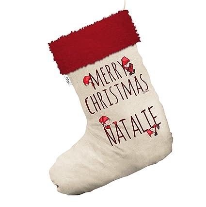 Personalizado feliz Navidad elfo grande blanco medias calcetines de Navidad con ribete de color rojo