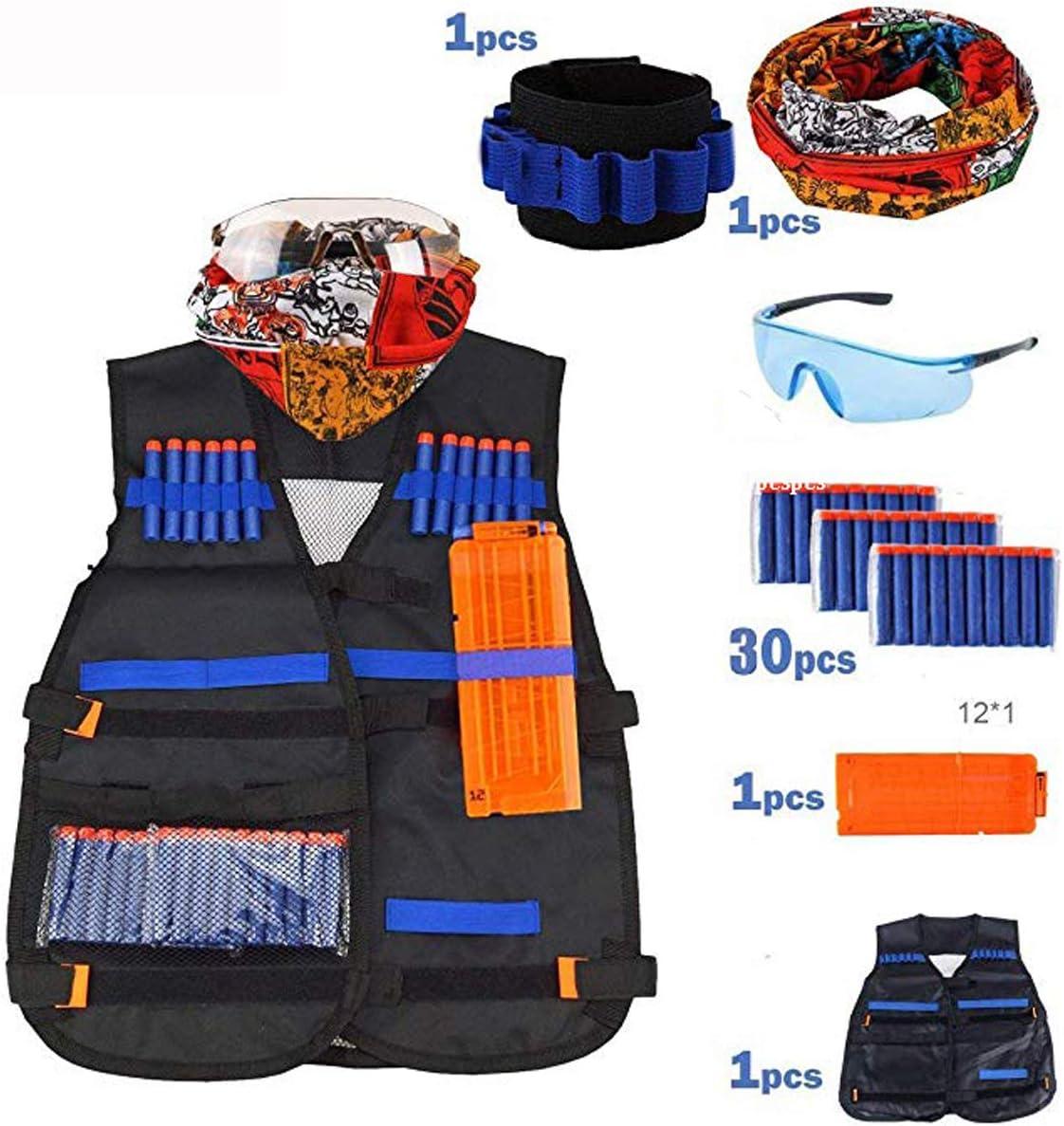 Airtana Chaqueta Chaleco Táctico de Los Niños ,30 Dardos Bullets Bola de Repuesto + Protección Gafas +1 Pinzas de Repuesto Rápido para Cargadores +Bufanda para Pistolas Nerf Serie Elite Strike