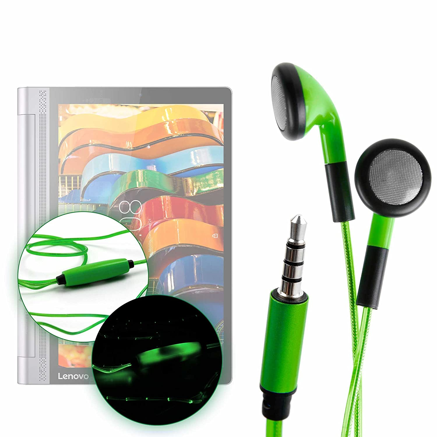 DURAGADGET Auriculares In-Ear con Luz LED Verde para Tablet ...