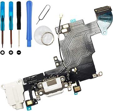 XMITEC Conector dock para iPhone 6S – Conector de carga USB Audio Jack micrófono Cable Flex – Blanco + Juego de herramientas