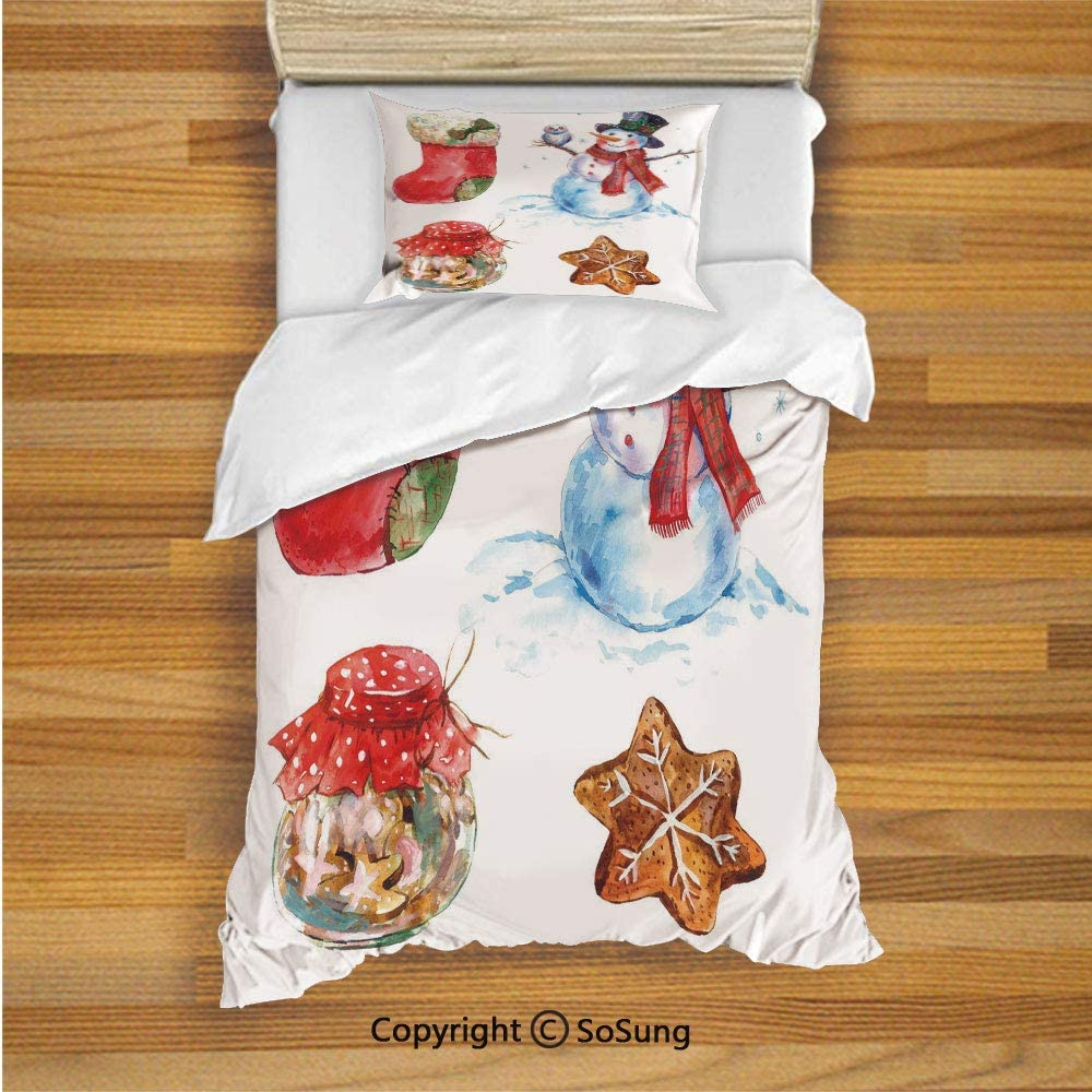 B07T8PFGQC Christmas Kids Duvet Cover Set Twin Size, Watercolor Xmas Icons Snowman with Owl Sock Gingerbread Cookie Decorative 2 Piece Bedding Set with 1 Pillow Sham,Red Dark Orange Light Blue 71rBol7A7CL