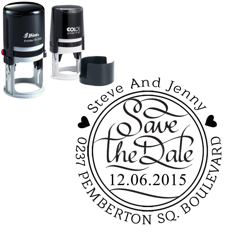 Personalizzato Rotondo Timbro Save The Date personalizzata Invito Auto Ink Stamper regalo Printtoo