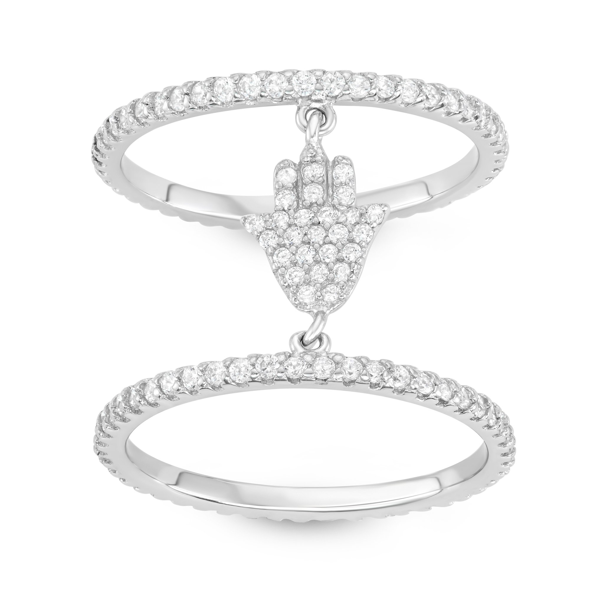 925 Sterling Silver White Inlay Cubic Zirconia Double Band Hamsa Hand Ring, Size 7