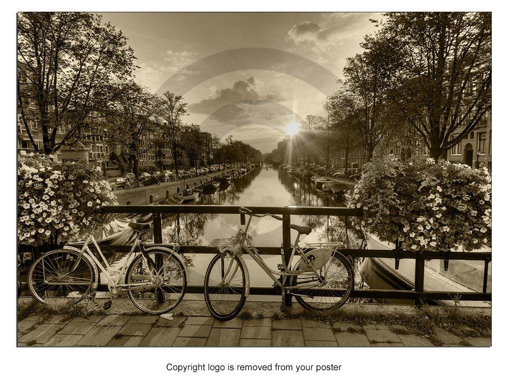 Cartel hermoso amanecer sobre Amsterdam Países bajos de la ...