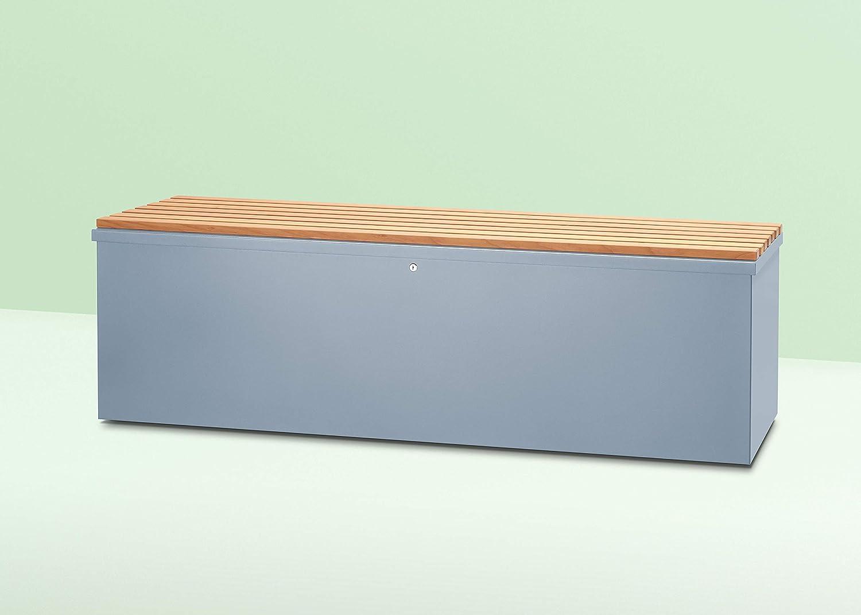 Vanjo - Arcón para cojines, aluminio, Swiss Label, con listones de madera con mango, con ruedas, 170 x 80 x 62 mm, azul/gris